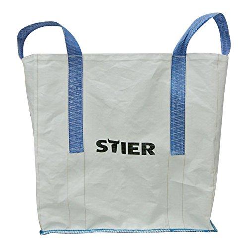 STIER Transportsack BIG BAG, Größe 90x90x90 cm, Tragfähigkeit 1500 kg, Laubsack oben offen, Packsack geeignet für Transport von Steinen Sand Kies Bauschutt