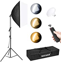 Neewer Photography Softbox Lighting Kit: 20x28Inches/50x70cm Soft Box, 79Inches/200cm Light Stand, 45W LED Bulb with Remote Control for Photo Studio Portrait Photography, Video Shooting