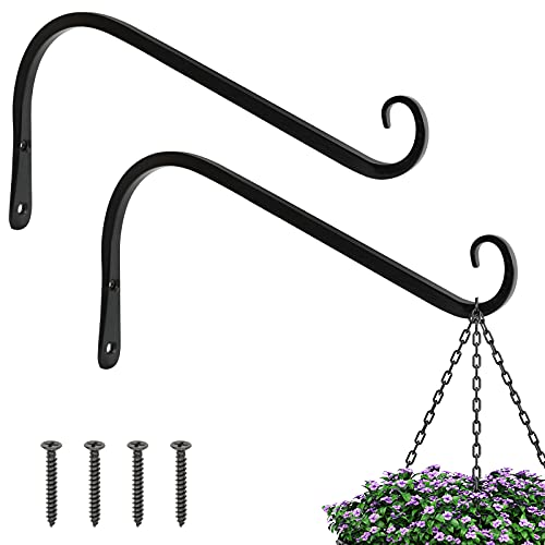 FEED GARDEN 12 Inch Hanging Plant Bracket 2 Pack Wrought Iron Wall Hooks for Bird Feeders Lanterns Wind Chimes with Screws, Black, Decor Indoor & Outdoor
