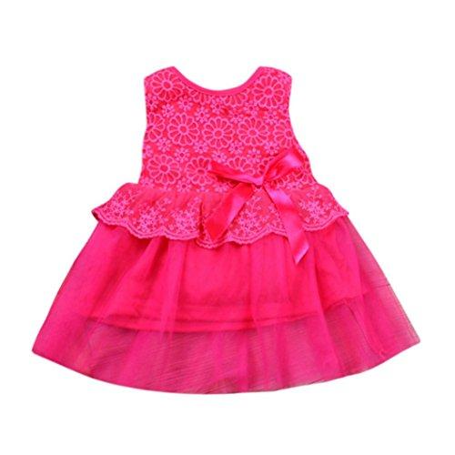 Baby Kleid Blume Baby Mädchen Prinzessin Kleid Brautjungfer Pageant Kleid Geburtstag Party Brautkleid Xinantime (0-3Monat, Hot Pink)