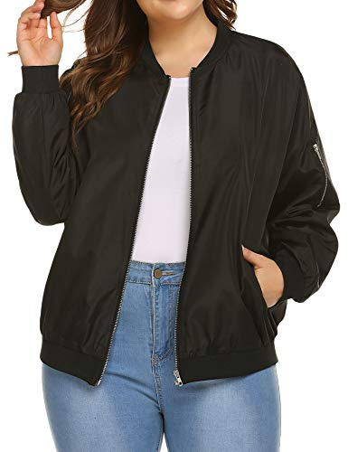 IN'VOLAND Womens Jacket Plus Size Bomber Jackets Lightweight with Pockets Zip Up Quilted Casual Coat Outwear