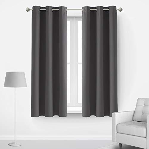 Deconovo Room Darkening Thermal Insulated Blackout Grommet Window Curtains Panels Set of 2 Living Room Dark Grey 42x63-Inch