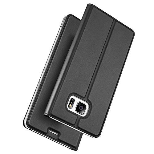 Verco Funda para Samsung Galaxy S7 Edge PU Cuero Flip Folio Carcasa Soporte Plegable Ranuras para Tarjetas para teléfono móvil Galaxy S7 Edge Cubierta, Negro
