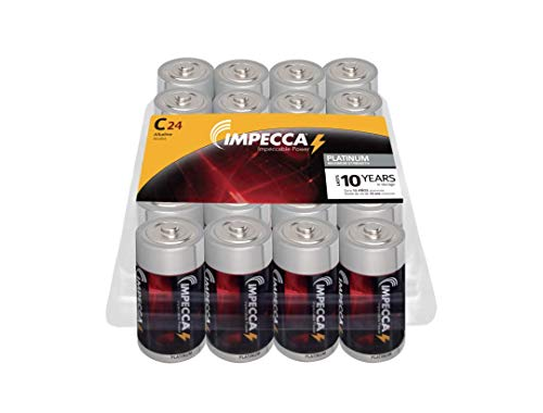 IMPECCA C Batteries, All-Purpose Alkaline Batteries (24-Pack) High Performance, Long Lasting, and Leak Resistant 24-Count LR14 - Platinum Series