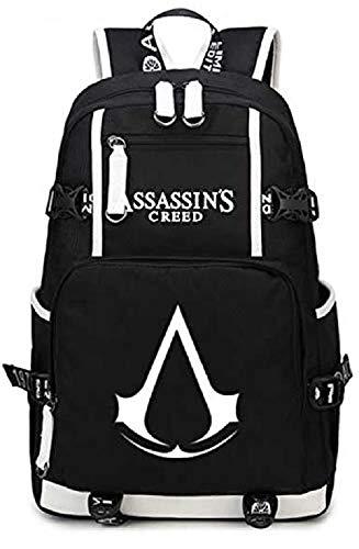 Bkckzzz Leuchtende Schultasche Daypack Book Bag Laptop-Tasche Rucksack für Assassins Creed Cosplay