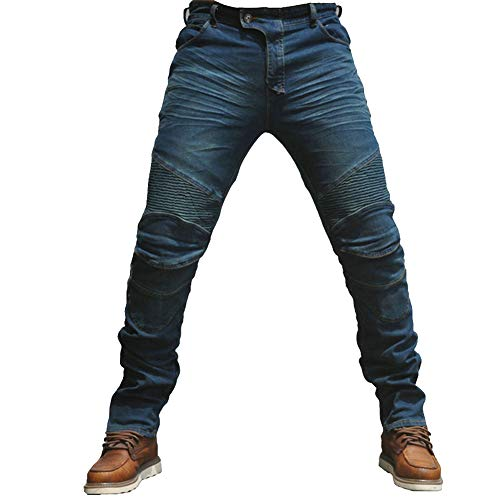 YOUCAI Homme Moto Jeans Slim Fit Pantalon de Moto en Denim avec 4 Coussinets de Protection Détachables,XL,Bleu