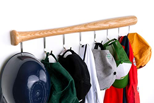 KT Bats Coat Rack Wall Mount Baseball Bat Cap Hat Towel Jersey Display Fully Assembled Unique Idea for Sports Fans Perfect Mudroom Bedroom Entryway Bathroom Organization System with 8 Hooks (Natural)