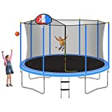 Tatub Trampoline 16FT 15FT 14FT 12FT Trampoline with Enclosure Net and Ladder, Outdoor Recreational Trampoline for Kids Adults Jump