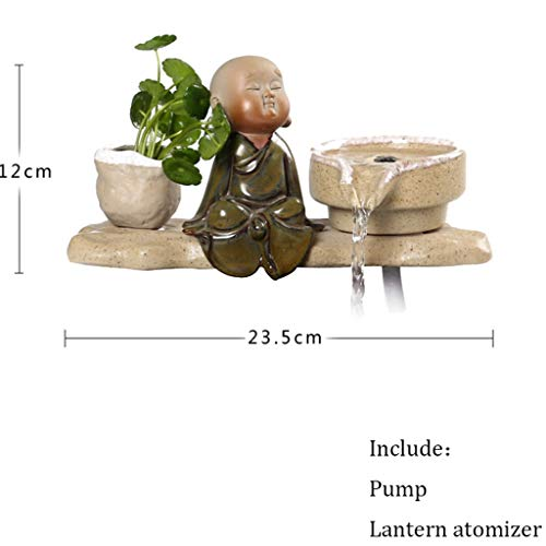 ZJY Tabletop Fountains Little Monk Water Fountain Humidifier Desktop Ornaments Fish Tank Flower Pot Atomizer Creative Feng Shui Home Decor Tabletop Water Fountain (Color : A)