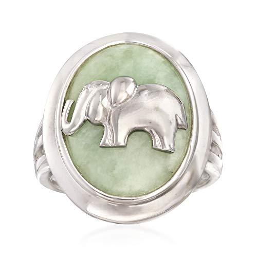 Ross-Simons Green Jade Elephant Ring in Sterling Silver