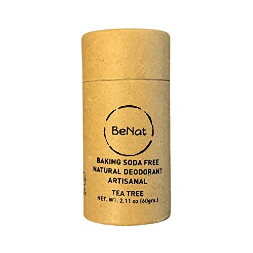 BeNat. NO-BAKING SODA. Artisanal Natural Deodorant. ZERO-WASTE. Tea Tree. Made with fewer, all-natural ingredients. Free of Aluminum, toxins and all harmful chemicals. Cruelty-free and EARTH-FRIENDLY.