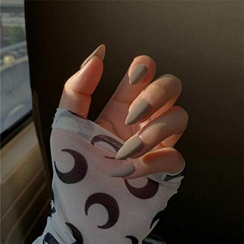 TJJL Faux ongles States Full Cover Fake Nail Fashion Light Grey Solid Color Long Stiletto Press On Nails