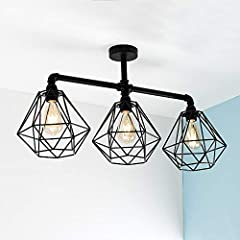 Industrial Steampunk Style Satin Black 3 Way Bar Pipework Ceiling Light Fitting #3