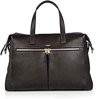 "Knomo Mayfair Luxe Audley, 14"" Leather Laptop Handbag, with Removable Strap, Device Protection, RFID Pocket and KNOMO ID, Black"