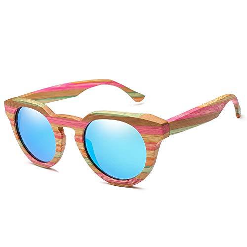 MXLTiandao Gafas de Sol Gafas de Sol de bambú de Madera Ojo de Gato Polarizado Marco Redondo Moda Vintage Clásico Gafas de Sol de Marco Grande para Mujeres Hombres (Color : Azul, Size : Gratis)