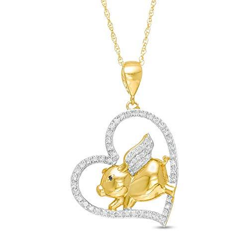 Ani's Colgante de plata de ley 925 chapado en oro amarillo de 14 quilates con circonita cúbica de diamante blanco y negro