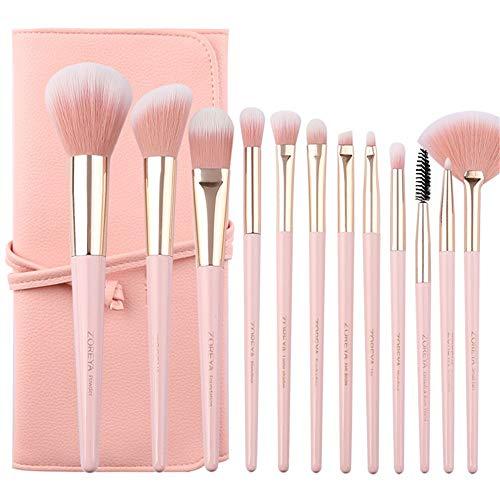 EVFIT Pinceaux à Maquillage 12 Poignée de Queue Pointu Pinceau de Maquillage Ensemble débutant Ensemble Complet d'outils Pinceau Rose d'envoyer des Sacs (Color : Pink, Size : One Size)
