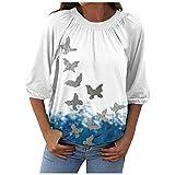 NBBD - Camiseta de manga larga para mujer, diseño de mariposas y...