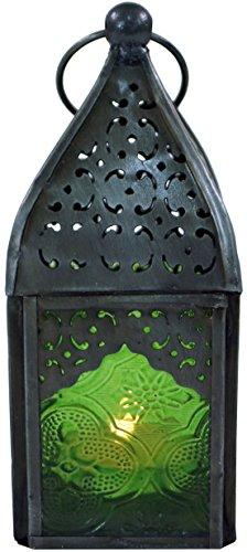 Guru-Shop Oosterse Metalen/glazen Lantaarn in Marokkaans Design, Lantaarn in 6 Kleuren, Groen, Glas, Kleur: Groen, 14x6x6 cm, Oosterse Lantaarns