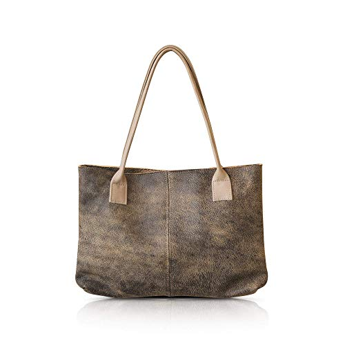 Handmade durable Italian leather handbag shoulder bag, casual everyday tote bag for women