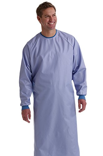 Medline 1-Ply Blockade AngelStat Surgeon/Surgical Gown, Snap Neck and Tie Back Closure, Large, Ceil Blue (Pack of 12)