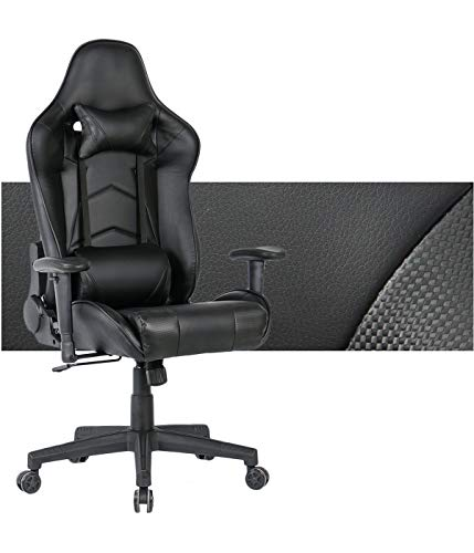 Gaming Chair Ergonomic Computer Game Chair Seat Height Adjustment Recliner Swivel Rocker E-Sports Office Chair with Headrest and Lumbar Pillow (Leather, Black,168) chair gaming
