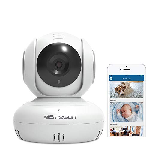 Emerson Radio WiFi Baby Monitor/Pet Nanny Camera, Two Way Audio, Night Vision, Temperature Monitor, Pan/Tilt, Motion Detection, HD, 1080P, White (ER108002)