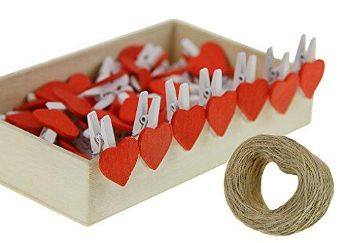 LY Clips de Madera con Forma de corazón para Notas, Fotos, Tarjetas de Papel, Pinzas con Cuerda para Colgar, 50 Unidades en Caja
