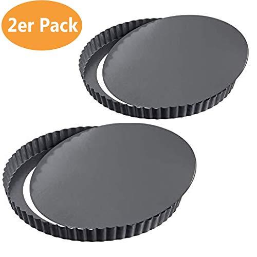 meleg otthon Tarteform und Quicheform Non-Stick Mit Hebeboden Torte Baking Pan,Obstkuchenform und Backform (22cm*2)
