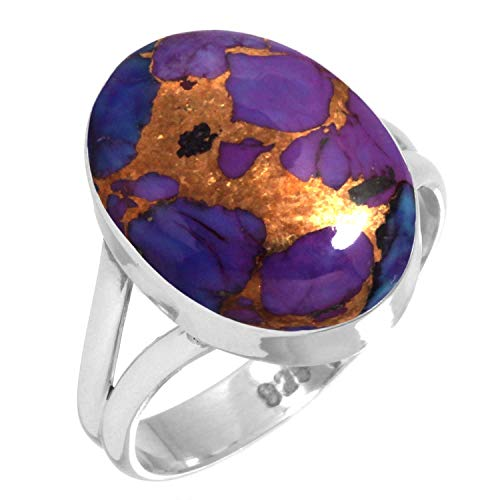 925 Sterling Silver Ring Copper Purple Turquoise Handmade Jewelry Size 8