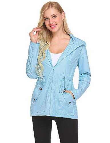 Camping Windbreaker,Women Backpacking Waterproof Warm Rain Jacket(Light Blue,XL)