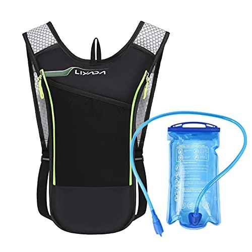Lixada Mochila Hidratación,Bolsa para Correr con Bolsa de Agua Potable,Chaleco 5L + Botella de Agua Blanda 2L,Ultraligero,Transpirable,para Montar/Correr/Caminar/Acampar (Verde 1)