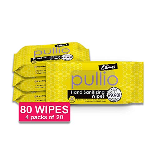pullio - Hand Sanitizer Wet Wipes with Premium Fabric | Hypoallergenic Alcohol-Free Formula| Gentle Hand Cleaning Wipes for Everyone | Hand Wipes w/Citrus, Peppermint (Citrus 20 (4pks))