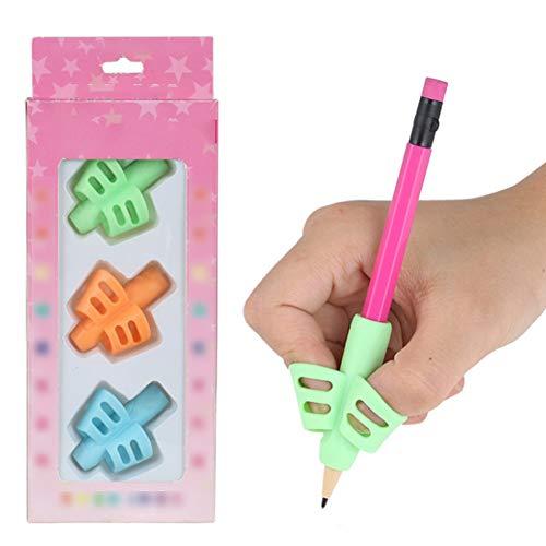 3 piezas mariposa lápiz Grips para niños Escritura Escritura dispositivo de corrección lápiz Grips del lápiz Ayuda Grip Postura de corrección Kit de escritura los dedos dobles