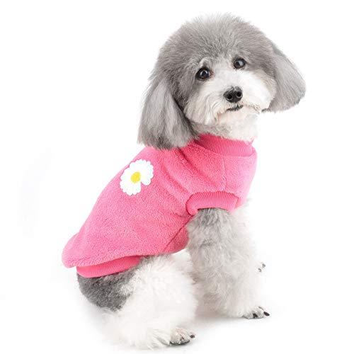ZUNEA Jerséis para Perros Pequeños Ropa Invierno Cálido Abrigo Chaqueta Forro Polar Cachorros Suéter Suave Cómoda Suéter Terciopelo Ropa de Navidad para Mascotas Chihuahua Perros Niñas Hot-Rosa XL