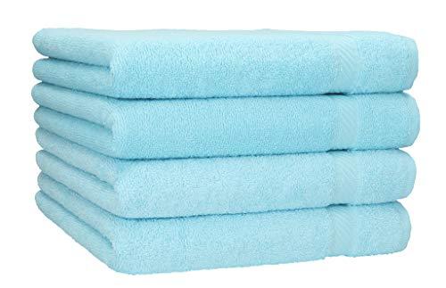Betz 4 pezzi di set asciugamani doccia PALERMO misura 70x140 cm 100% cotone asciugamano doccia asciugamano sportivo Colore turchese