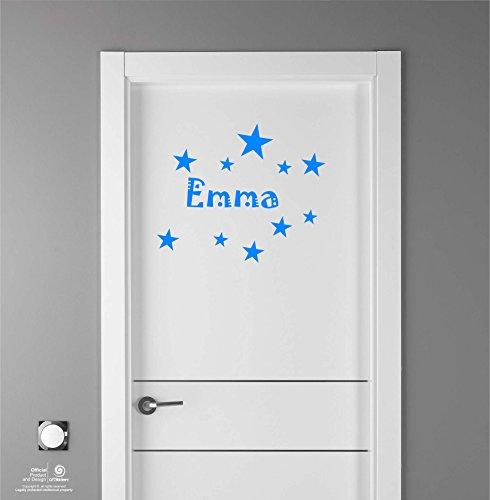 Artstickers Adhesivo Infantil para decoración de Muebles, Puertas, Paredes.Nombre: Emma, en Color Azul Nombre de 20cm + Kit de 10 Estrellas para Libre colocación.