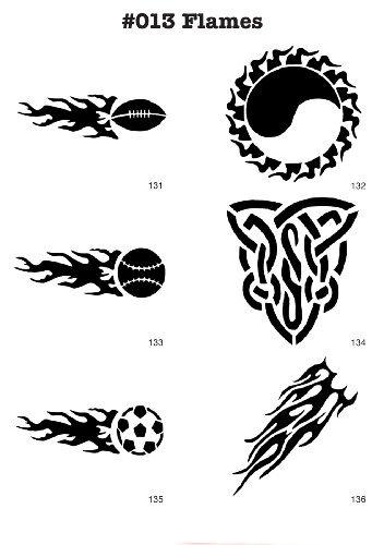 UNLIMITED STENCILS 6 Airbrush-Schablonen MYLAR #013 Flammen, Fussball