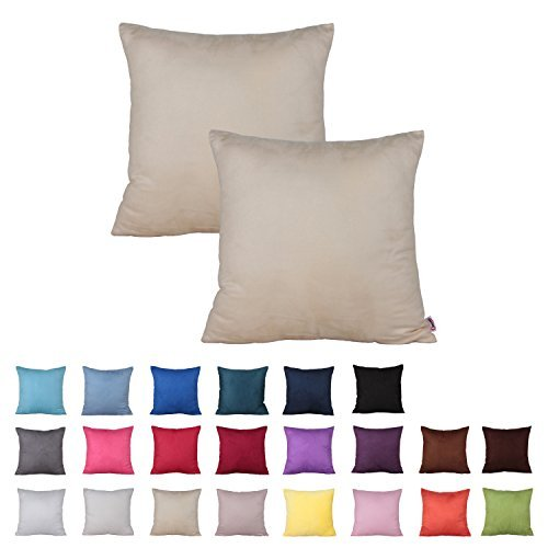 Queenie - 2 Pcs Solid Color Faux Suede Decorative Pillowcase Cushion Cover for Sofa Throw Pillow Case Available in 22 Colors & 7 Sizes (21.5 x 21.5 Inch ( 55 x 55 cm), Color 3 Beige)