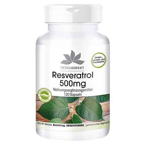 Resveratrol 500mg - Hochdosiert - Knöterich-Extrakt - 120 Kapseln