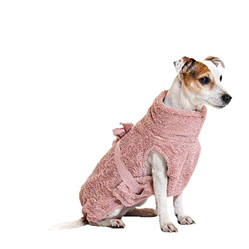 Lill's Hundebademantel, 100% Bio-Baumwolle, Organic Pinkberry (Rosa/Pink) (XXXS)