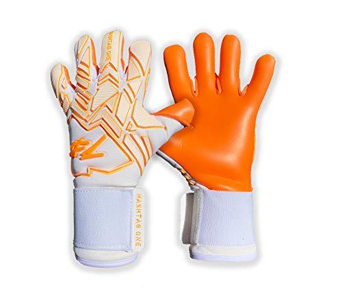 #1 Hashtagone Torwarthandschuhe für Erwachsene & Kinder - Größe 7 - (Endboss) (7, weiß-orange)