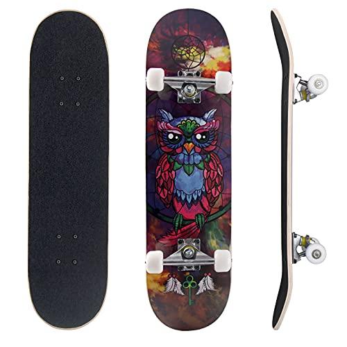 Double Warped Skateboard 79cm×20cm aus 7-lagige Kanadische Ahorne Double Kick Deck Concave mit einem T-Steckschlüssel Straße-Skate Board für Anfänger/Amateure/Kinder/Jungen/Mädchen/Erwachsene