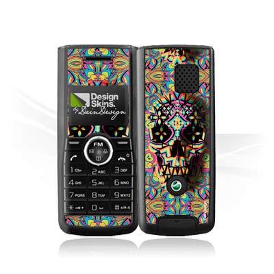 DeinDesign Folie kompatibel mit Sony Ericsson J120i Aufkleber Skin aus Vinyl-Folie Totenkopf Neon 3D Erscheinungsbild Muster