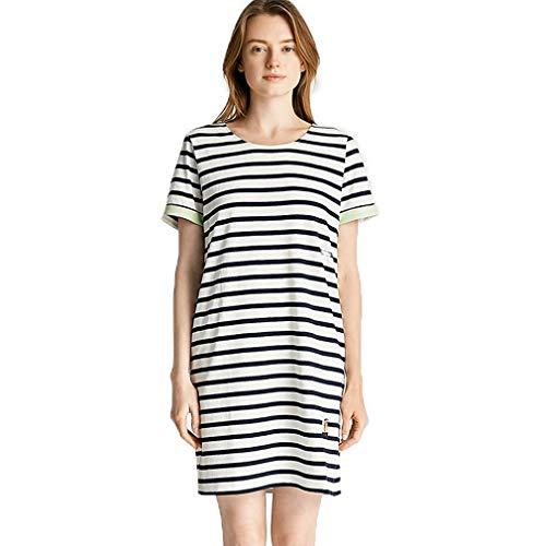 LFNIU Camisón de verano para mujer, de algodón puro, manga corta, sexy, cuello redondo, a rayas, color de contraste, algodón, ropa de moda para el hogar, pijamas