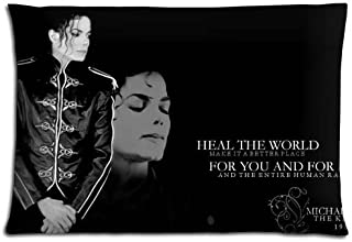 Custom Michael Jackson Home Decorative Soft Throw Pillowcase Cushion Custom Pillow Case Cover Protecter with Zipper Standard Size 20x30 Inches Two Sides Printed