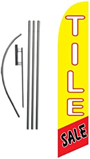 Tile Sale Advertising Feather Banner Swooper Flag Sign with Flag Pole Kit and Ground Stake