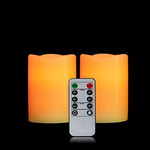 OxoxO 2PCS 3' x 4' Flameless Candles Flickering Real Wax Pillar Built In LED Candles Battery Operated Candle With 10-Key Remote Control