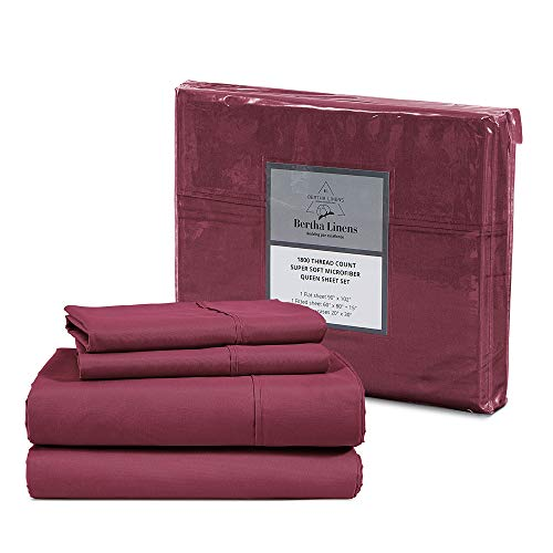 1800 Bed Sheet Set Queen - Burgundy Sheet Set Queen Size - Double Brushed Microfiber Sheets - Breathable Sheets Queen -Wrinkle Resistant Sheets (Queen, Burgundy)