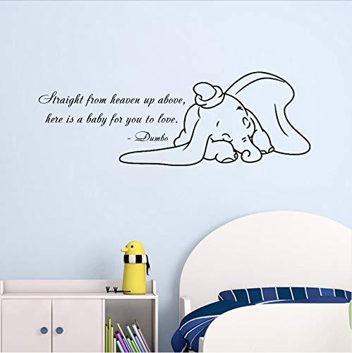 Wandtattoo Tiere Vinyl Wandaufkleber Für Kinderzimmer, Dumbo Wandtattoo Elefant Cartoon Spiele Kindergarten Papier Aufkleber 57X20 Cm